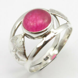 Rose Quartz Gemstone Ring 925 Sterling Solid Silver Women Jewelry S US 8