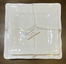 Details about  /x4 Tommy Bahama Melamine Dinner Plate Set White Square Dotted Edge Summer