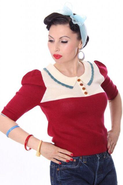 SugarShock 30s 40s retro BELLA Kragen Jumper Strickshirt Rockabilly Pin Up
