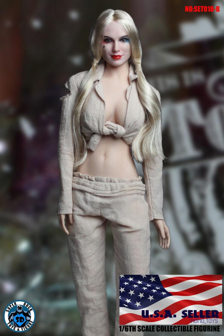 1 1 1 6 Harley Quinn Head Sculpt Prisoner Suit Set Suicide Squad Phicen Figure ❶USA❶ dd34b1