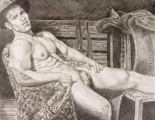 "9/"" x 12/"" drawing print nude male cowboy reclining in barn gay interest"