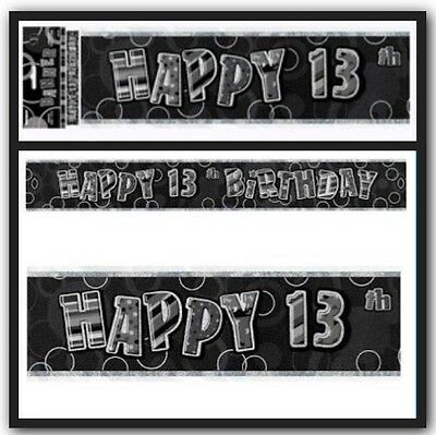 13th Birthday Banner Black 3.6metres long Party supplies Decorations Girl