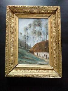 Rare-tableau-peintre-impressioniste-Normandie-Academie-d-039-Yport-bel-etat-1885