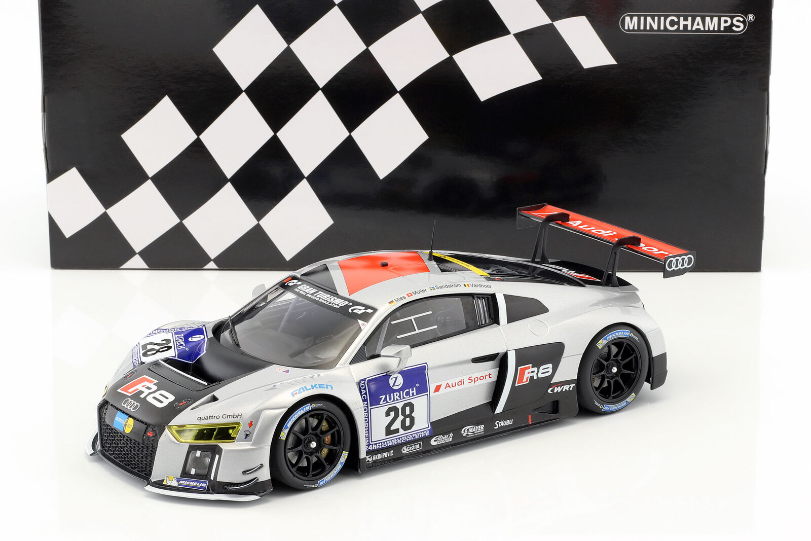 Audi r8 LMS ULTRA  28 WINNER 24 H Nürburgring 2015 équipe expérimentés 1 18 Minichamps