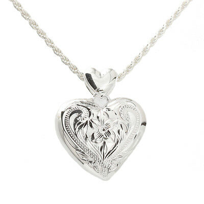 L Sterling Silver Hawaiian Scroll Heart Locket Pendant ESP2642