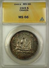 1949 Canada Silver $1 One Dollar Coin ANACS MS-66 Toned (Proof-Like)