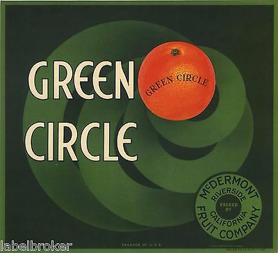 CRATE LABEL ART DECO CIRCLE RIVERSIDE VINTAGE GREEN STREAMLINE MODERNISM 1930S