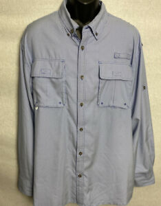 Cabela-039-s-Mens-Button-Down-Shirt-Roll-Tab-Sleeves-Pockets-Blue-White-Sz-XL-NWOT