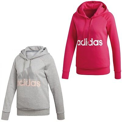 adidas ESS Lin OH HD Damen Hoody Hoodie Kapuzenpullover Pullover mit Kapuze grau