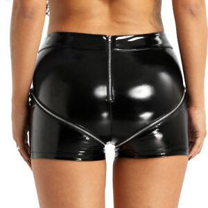Women/'s Hot Pants Wet Look Dancewear High Waist Mini Shorts Bottoms Club Wear