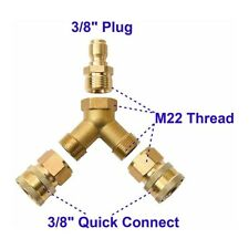 38in Fitting Pressure Washer Tee Splitter Coupler Quick Connect Two G Un To One