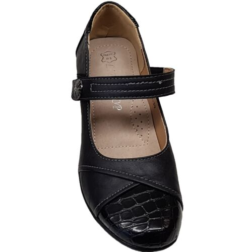 Ladies Faux Leather Patent Strap Padded Insole Comfy Small Block Court Heels