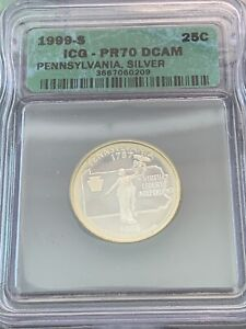 1999-S Pennsylvania State Silver Proof Quarter 25C ICG PR70 DCAM Green Label