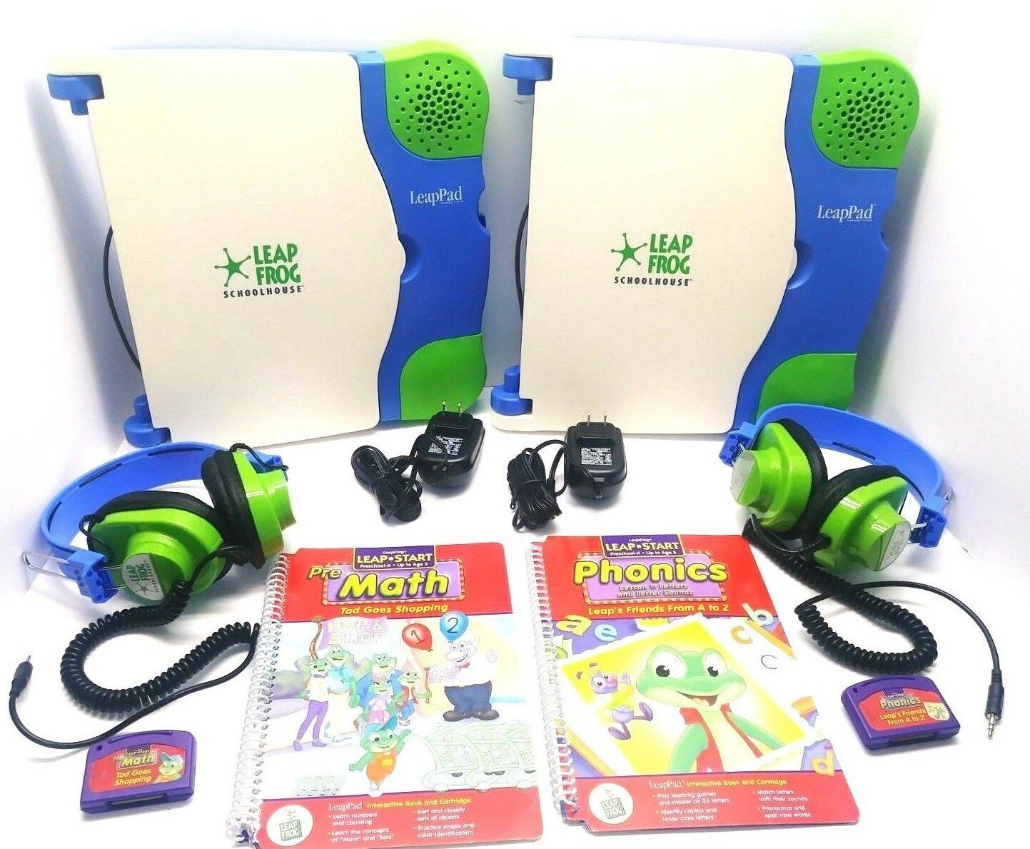 Leap Frog School House LeapPad Learning System w Headphones and Chargers- 2 SETS