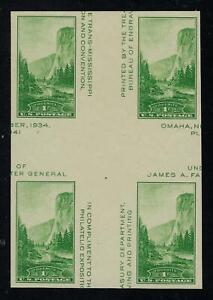 SCOTT-769-1935-1-CENT-YOSEMITE-ISSUE-CROSS-GUTTER-BLOCK-MNH-NGAI-VF-CAT-15