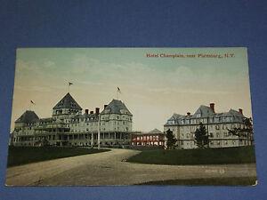 VINTAGE-1913-HOTEL-CHAMPLAIN-NEAR-PLATTSBURG-NEW-YORK-POSTCARD