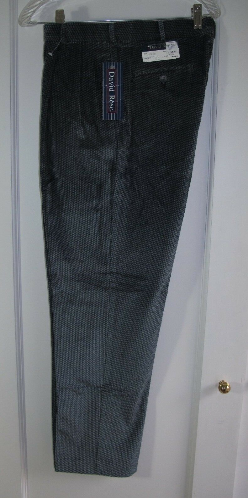 bluee Cotton Corduroy Pleated Pants Mens 32W 30L Herringbone DAVID pink USA Made