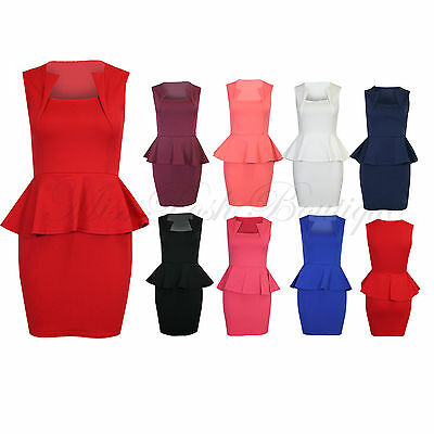 Women's Sleeveless Square Neck Peplum Bodycon Ladies Slim Effect Dress Size 8-16