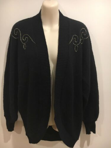 Vintage Black Cardie with Gold design Size approx 16