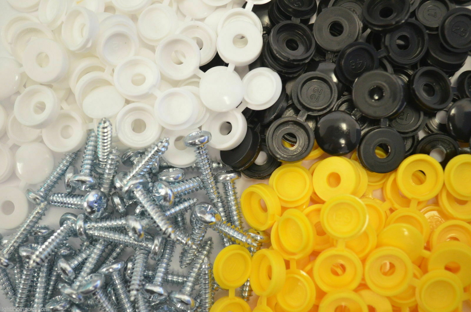 24 CAR NUMBER PLATE FIXING FITTING KIT SCREWS & CAPS WHITE YELLOW BLACK LICENSE