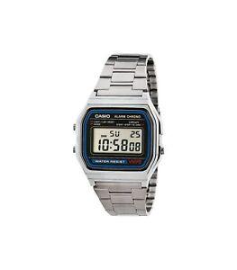 Casio-A158W-watch-Vintage-Retro-Silver-Stainless-Steel-Digital-Unisex-Watch