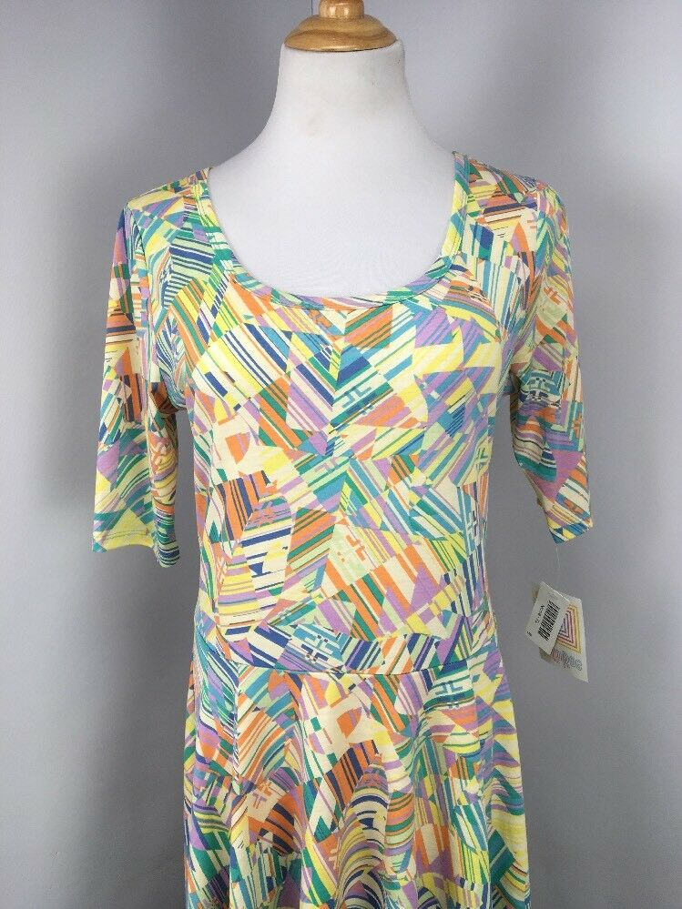 NWT NEW NEW NEW Lularoe Geometric all over print Nicole dress XL Pastel NEON Unicorn b3618d