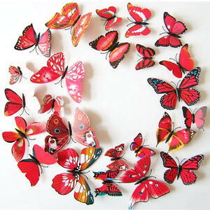 UK-12-pcs-Red-3D-Butterfly-Wall-Stickers-Art-Decal-Home-Office-Decorations-Decor