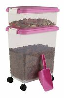 Iris Airtight Pet Food Container Combo Kit, Pink/white, New, Free Shipping on sale