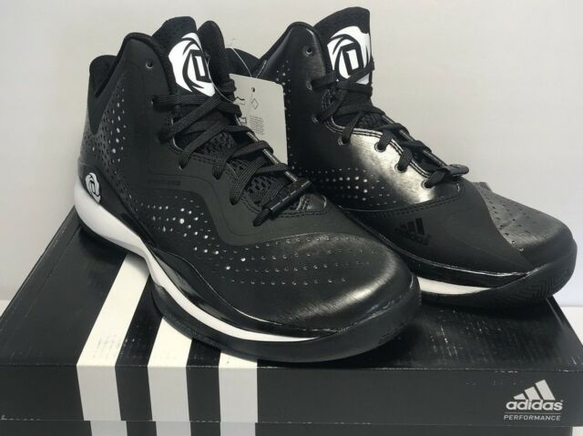 e3e8fee4b46b Adidas Mens Size 5.5 D Rose 773 III Black White Basketball Training Shoes