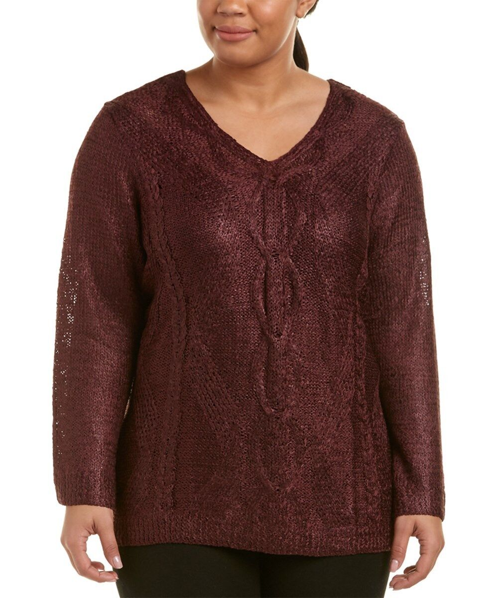NEW NIC+ZOE Cable Wave Sweater, Burgundy, Tape Yarn, Size 2X Plus, NWOT