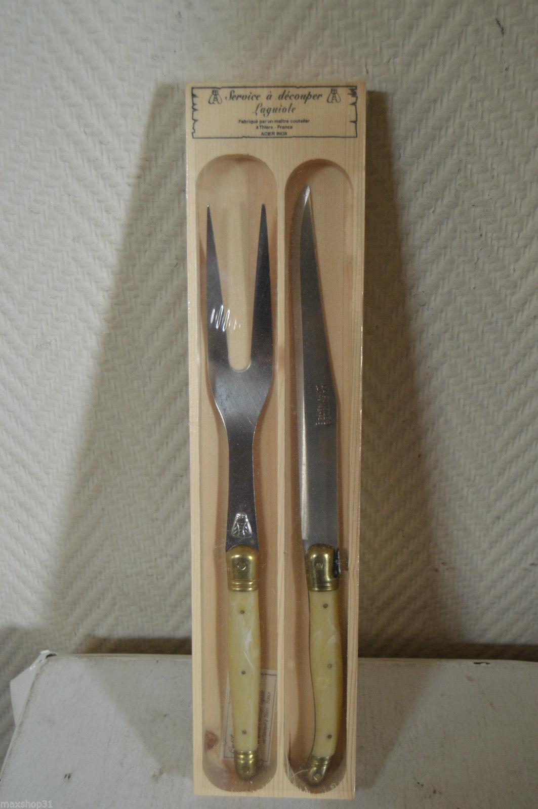 Coffret service a decouper LAGUIOLE COUTEAU + fourchette Thiers acier France NEUF