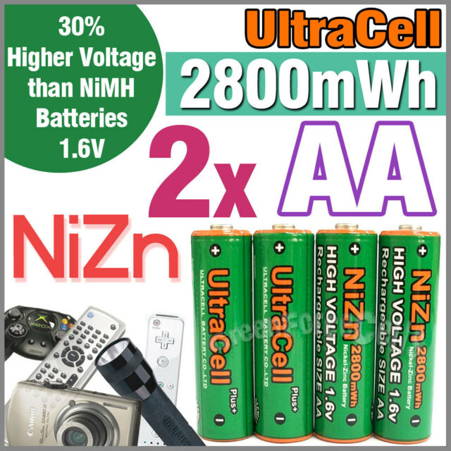 2 2800mWh AA NiZn 1.6V Volt Rechargeable Battery 2A AM3 UM3 KR6 Ultracell Green