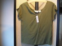 Fenn Wright & Manson Ladies Sz. 8 Olive Green 100% Silk Blouse Top Free Ship