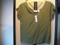 Fenn Wright & Manson Ladies Sz. 8 Olive Green 100% Silk Blouse Top Free Ship