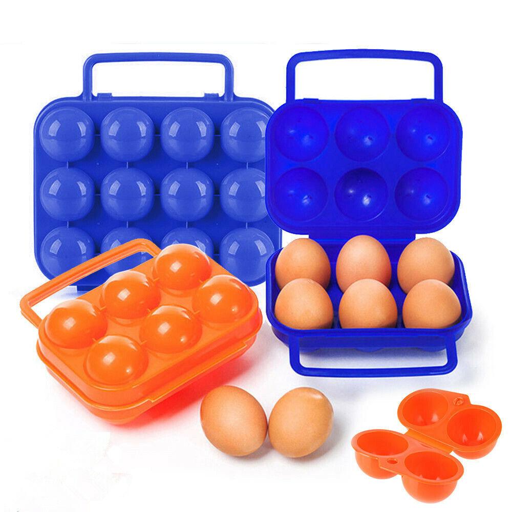 Portable 2//6//12 Egg Plastic Container Holder Folding Handle Case Egg Storage Box