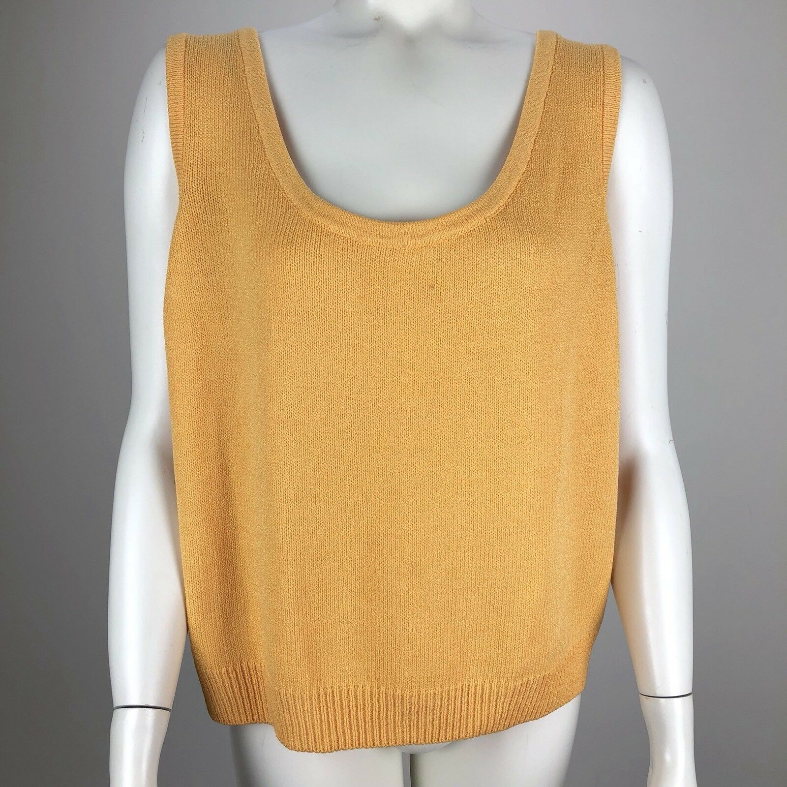 St. John Collection Women's Sleeveless Sweater Knit Tank Top Yellow - Size Med