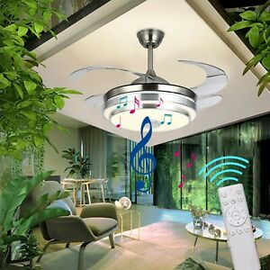 Ceiling Fan Invisible Chandelier LED Light w/ Remote Control & Bluetooth Speaker