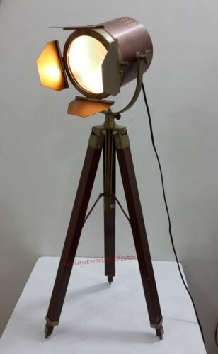 AntiqueTable Lamp Wooden Tripod Modern Look Searchlight Nautical Light