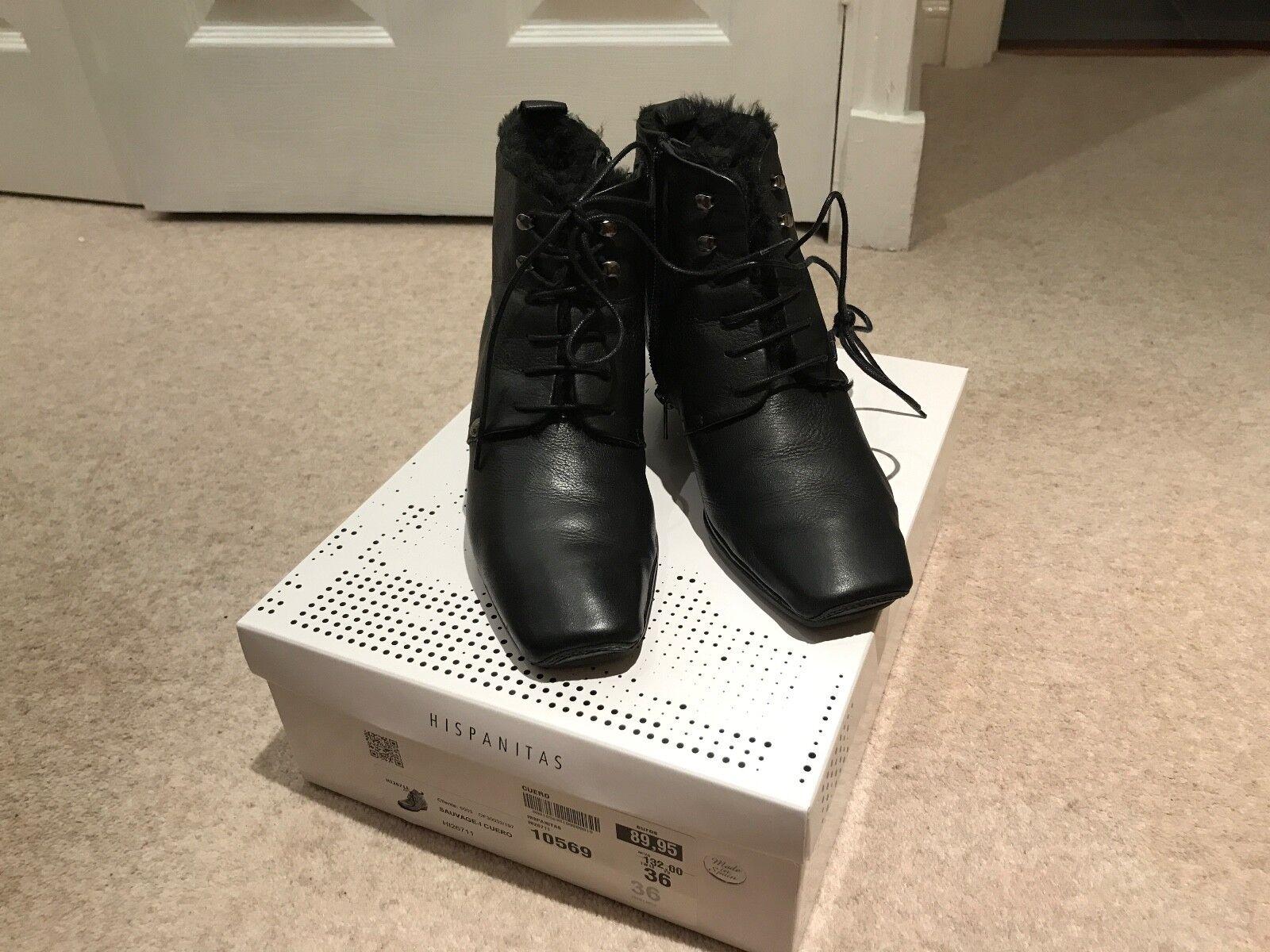 Hispanitas fur lined schwarz ankle boots Größe 3