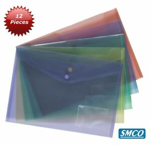 A4 High Quality Document Wallet Clear Popper File Folder Plastic Stud Closing
