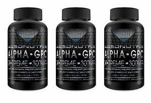 3 Bottles Absonutrix Alpha Gpc Xtreme 300mg Nootropic Brain Memory