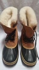 Sorel Caribou Dark Beige Black Winter Boots Size 11