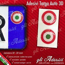 2 Adesivi Stickers bollino 3D Resinato targa Auto Moto Bandiera Italia Target