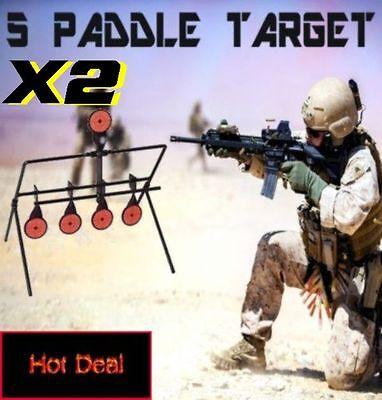 2 X Auto Resetting Spinner Target 5 Paddle Plinking Shooting Hunting Gun Targets