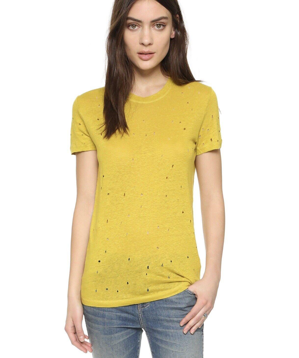 IRO Distressed Clay Top Yellow Linen T-shirt XS