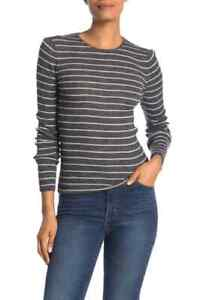 Vince Wool Stripe Sweater XS Ribbed Knit Crew Neck Womens Heather Charcoal