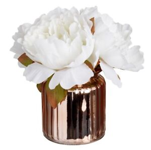 Artificial white peony peonies flowers in rose gold copper glass pot image is loading artificial white peony peonies flowers in rose gold mightylinksfo