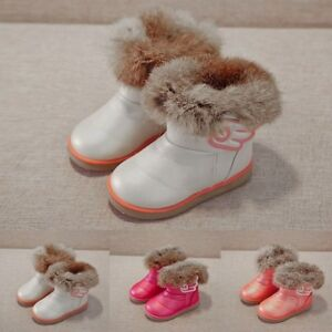 Kids-Baby-Infant-Boy-Girl-Child-Leather-Winter-Bootie-Warm-Snow-Shoes-Boots-AU
