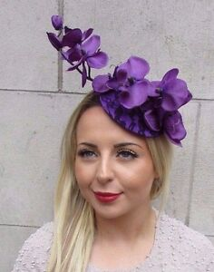 Dark Purple Orchid Flower Fascinator Hat Hair Clip Races Wedding Vintage 3169