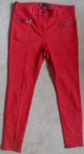 Next Ladies Red Skinny Jeans Size 14r Stretch